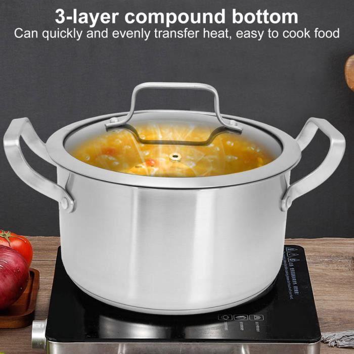 Pot de soupe Pot à soupe Marmite en acier inoxydable avec couvercle en verre Ustensiles de cuisine pour la maison HB051 -BOT