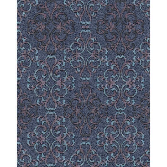 Papier peint baroque EDEM 85037BR32 papier peint texturé au style baroque brillant bleu bleu-turquoise violet noir 5,33 m2.