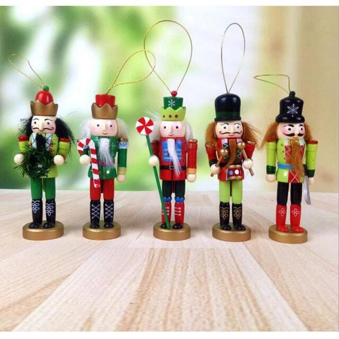 5 Pièces Casse-noisettes Suspendus Ornement Figurines Noël Mini Soldat En Bois Casse-noisette Bien Peint Marionnette Coloré