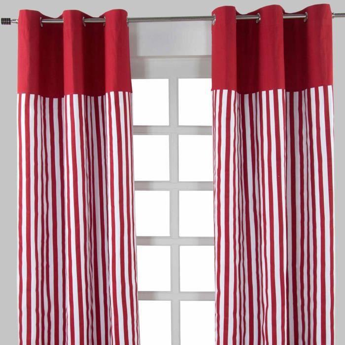 Paire de rideaux à oeillets Rayures Rouge 117 x 137 cm