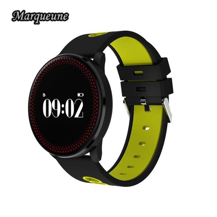 Montre connectée sport GPS et navigation Bracelet Connecté Bluetooth 4.0 Marqueune CF007 pour iOS et Android - Noir jaune