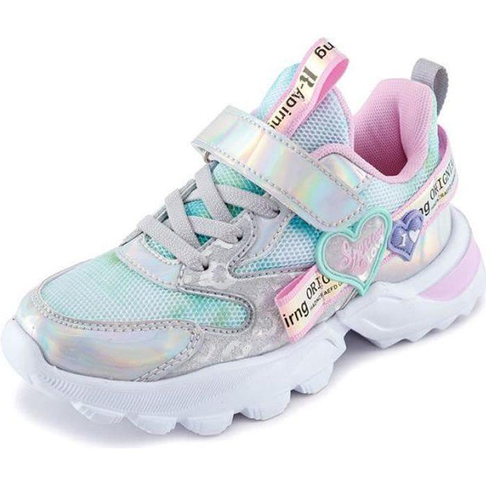 Qingu-Mode Rose Chaussures de Basket Pour Enfant Fille-Taille 25-37 avec Velcro-Semelle épaisse