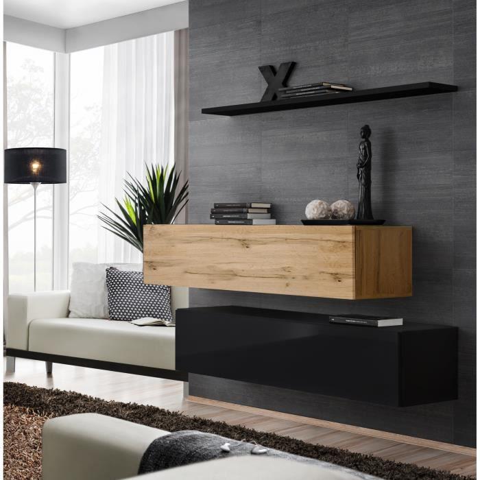 Ensemble meubles de salon SWITCH SBII design, coloris noir brillant et chêne Wotan. 30 Noir