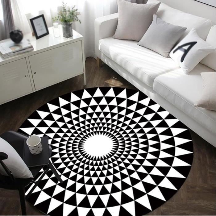 Noir- Mode rond en noir et blanc Salon Table basse Grand ( Couleur : Noir , taille : Diameter 80cm )
