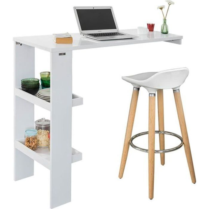 SoBuy® FWT55-W Table de Bar Murale Table Haute de Bar Mange-Debout Cuisine avec 2 étagères de Rangement