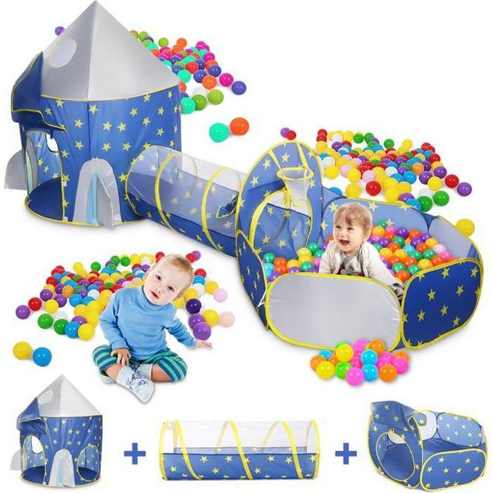 TEMPSA Tunnel de Ramassage de Tente de Jeu pour Enfants Intérieur et Extérieur Portable 3 en 1
