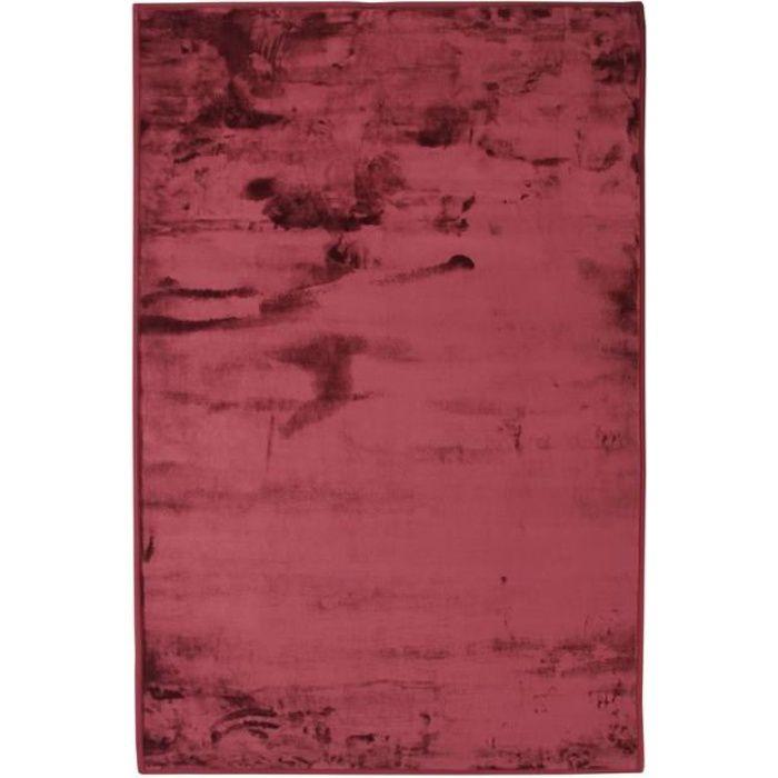 FLANELLE - Tapis extra-doux effet velours rouge foncé 60x90