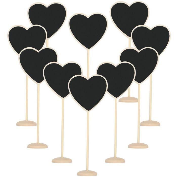 TRIXES 10 Cœurs en Ardoises Personnalisées en Bois Décoratifs Rustiques Placements de Tables pour Mariages et Soirées