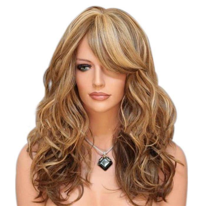 TRIXES longue perruque blonde mises en valeur Brown - Curly Caramel Fashion Style et le thème Fancy Dress up - Mesh Netting