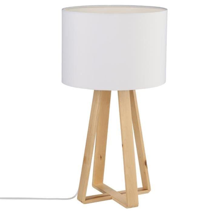 XM1079-Lampe à poser, pied en bois naturel, abat jour coloris LIN