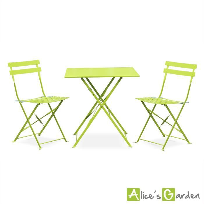 Emilia table vert anis style bistrot 2 places achat for Chaise jardin vert anis