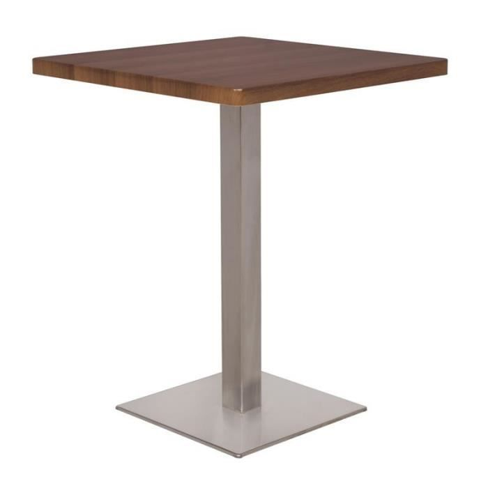 Table de bar table bistrot en mdf aspect bois de noyer for Table en fer exterieur