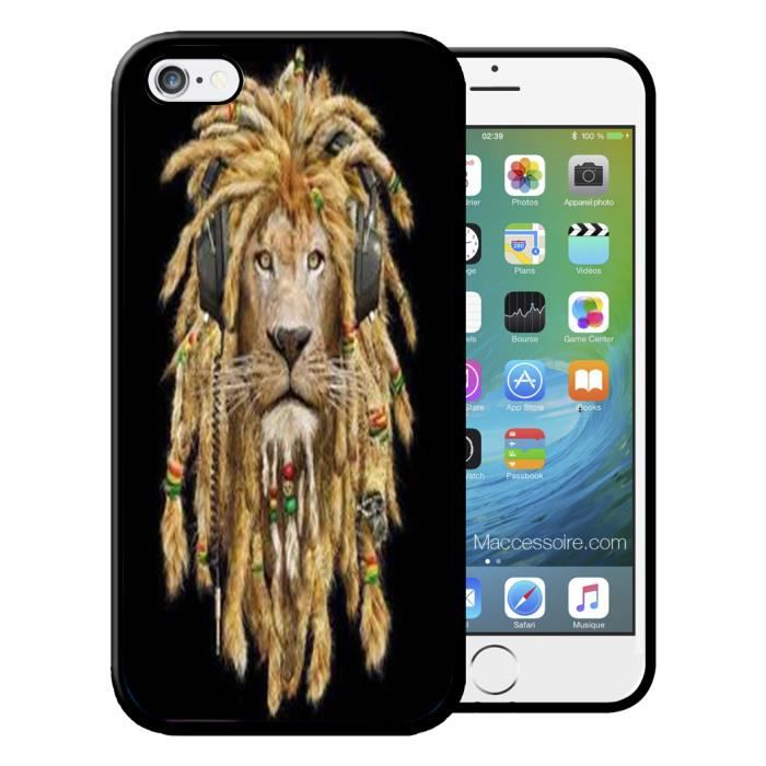 Coque Iphone 4 4S Lion Rasta Swag Vintage Etui Ho