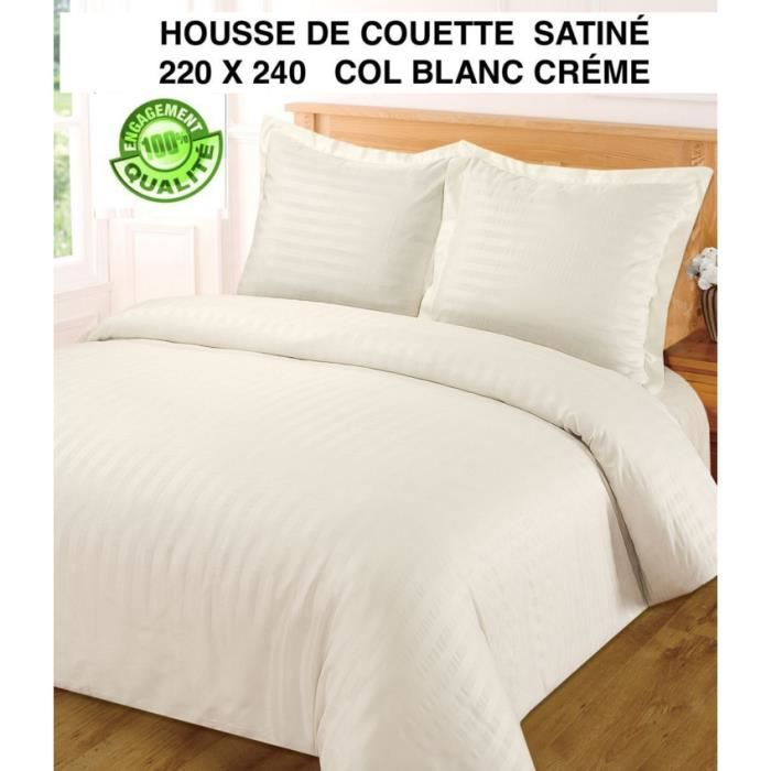 Housse de couette satin a rayures blanc cr me 220 x 240 2 for Housse couette 220 x 220