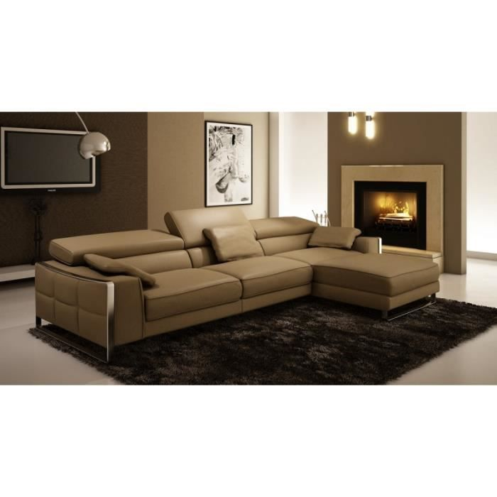 canap d 39 angle en cuir design beige emma achat vente canap sofa divan cuir bois. Black Bedroom Furniture Sets. Home Design Ideas