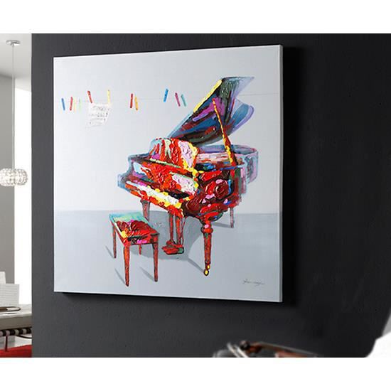 peinture sur toile relief piano a queue 120x120 cm achat vente tableau toile toile. Black Bedroom Furniture Sets. Home Design Ideas