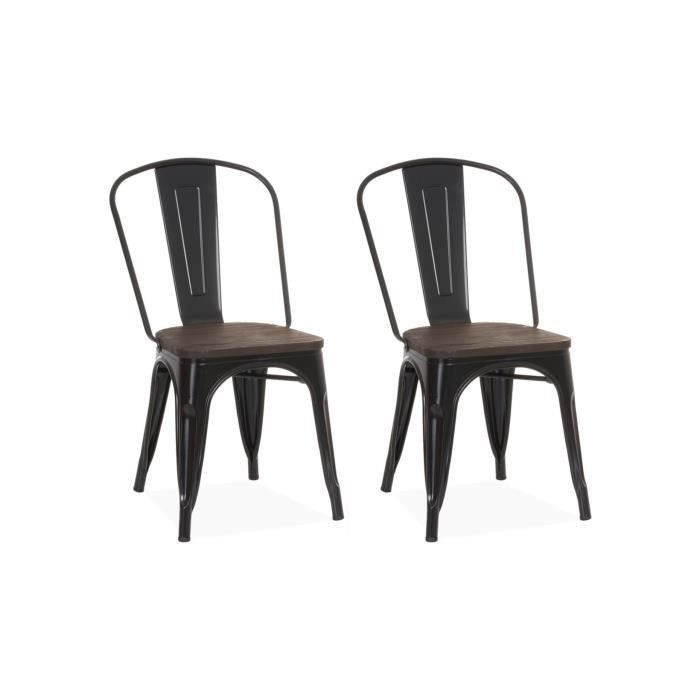 CHAISE Chaise Design Industriel LIVERPOOL Noir Lot De 2