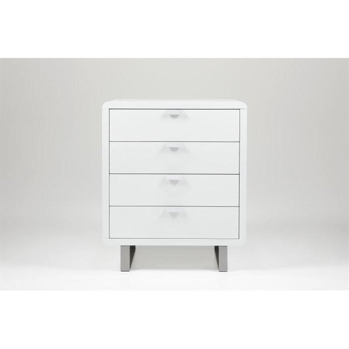 Commode design milki 4 tiroirs laqu e blanche achat vente commode semai - Commode blanche design ...