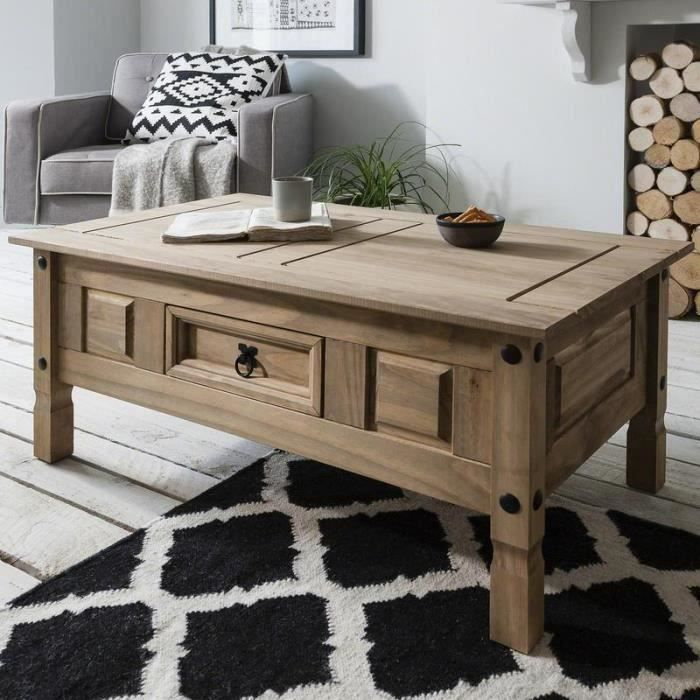 table basse bois en pin massif avec tiroir table basse de salon achat vente table basse. Black Bedroom Furniture Sets. Home Design Ideas