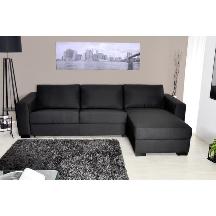 canap d 39 angle reversible convertible tissu noir now. Black Bedroom Furniture Sets. Home Design Ideas