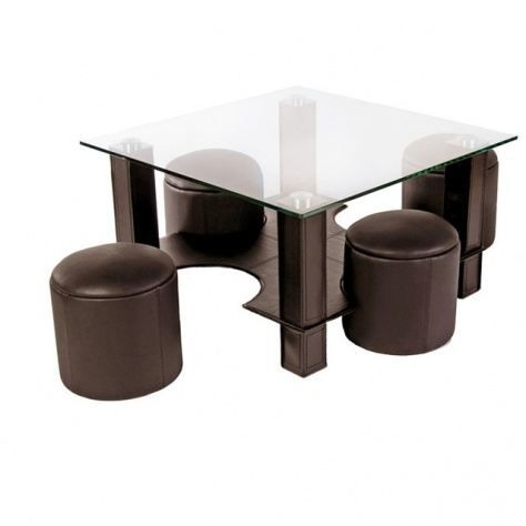 table basse en verre avec pouf chocolat yvelise achat vente table basse table basse en verre. Black Bedroom Furniture Sets. Home Design Ideas