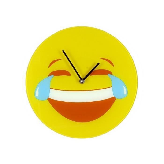 Horloge Smiley Emoticone Pleure De Rire Mort De Rire Mdr Ptdr Achat Vente Horloge Pendule Cdiscount