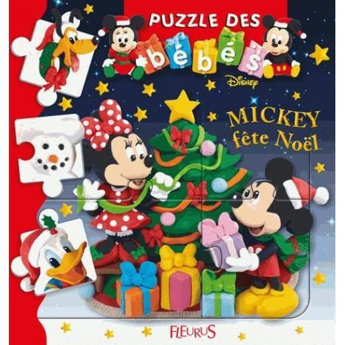 LIVRE 0-3 ANS ÉVEIL Livre - puzzle des bébés ; Mickey fête Noël