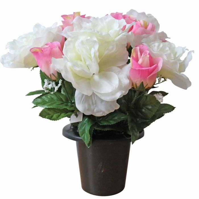Composition florale roses artificielles blanc rose for Rose artificielle