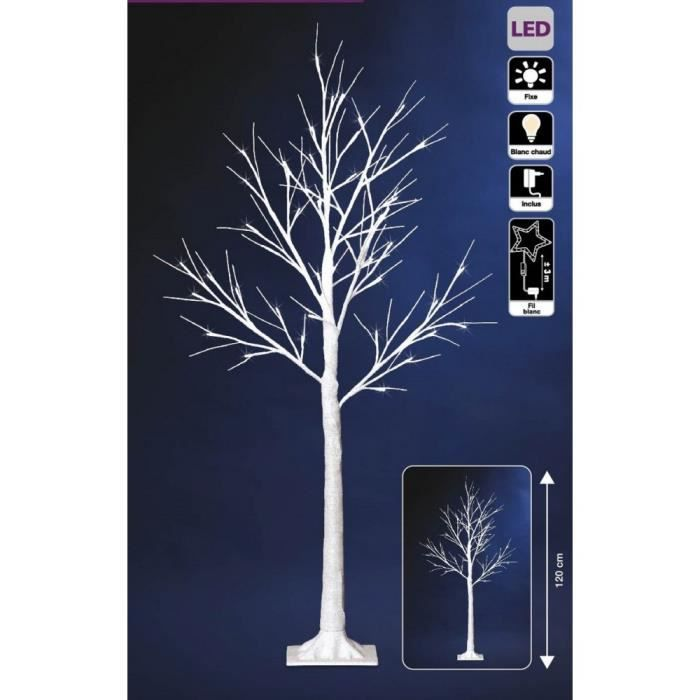 arbre lumineux blanc 120 cm 48 led achat vente sapin. Black Bedroom Furniture Sets. Home Design Ideas