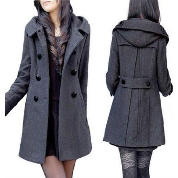 manteaux long pardessus veste d'hiver de laine Manteau Mélanges chaud femmes xBtrhCosQd