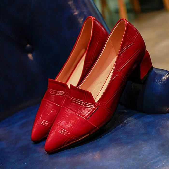 rouge Patent Casual Fashion Shoes Shoe LYH90603412RD37 Pumps Pointed Women Thick leather Single heels kXuiOPZ