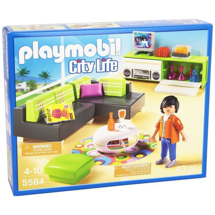 Playmobil jeu de construction salon moderne achat for Salle a manger playmobil city life