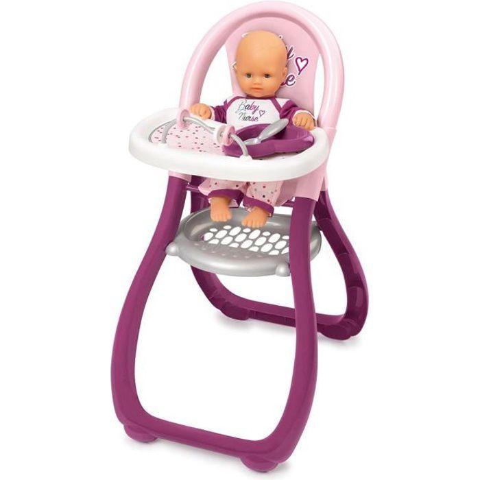 ACCESSOIRE POUPON SMOBY Baby Nurse Chaise Haute Poupon + 2 Accessoir