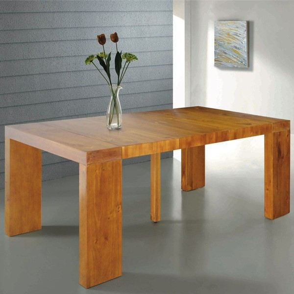 Table console extensible natura en bois massif achat for Table a manger 12 couverts