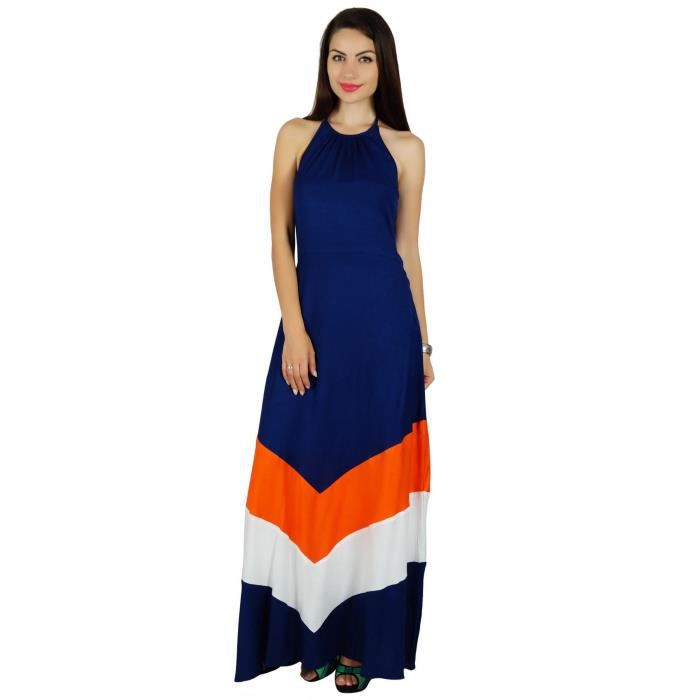 Bimba Femmes Halter Long Neck Maxi Dress Chic Beach Wear Classique Vêtements dété, Bleu