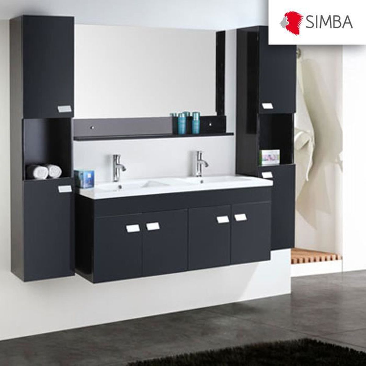 meuble salle de bain 120 cm noir set colonne vasque robinett elegance ensemble comme dans la. Black Bedroom Furniture Sets. Home Design Ideas