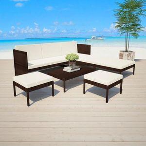 Ensemble table et chaise de jardin FIHERO Jeu de canapé de jardin 15 pcs Résine tress