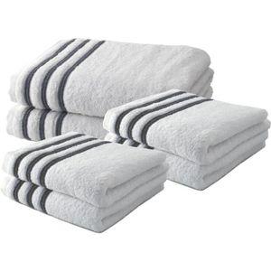 SERVIETTES DE BAIN Lot de 4 Serviettes de Toilette 50x100 cm + 2 Drap