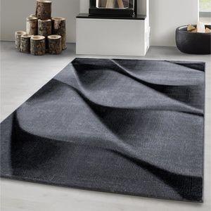 Tapis salon gris noir
