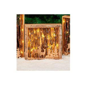 COFFRET DE DÉCORATION Cadre en bois avec décor lumineux H 30 cm - 30x30x