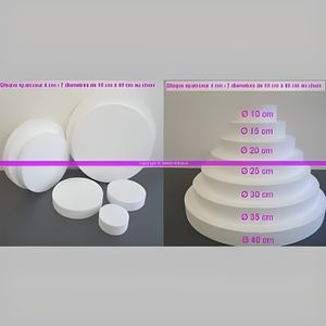 Support à décorer . Disque polystyrène épaisseur 4 cm,7 diam. au cho