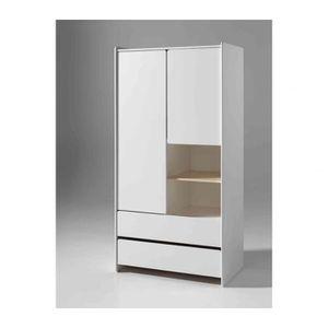 ARMOIRE DE CHAMBRE Armoire 2 portes 2 tiroirs blanc laqué - Terre de