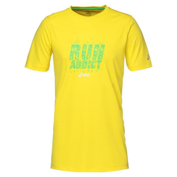 ASICS Tee shirt manches courtes Homme - Jaune fluo