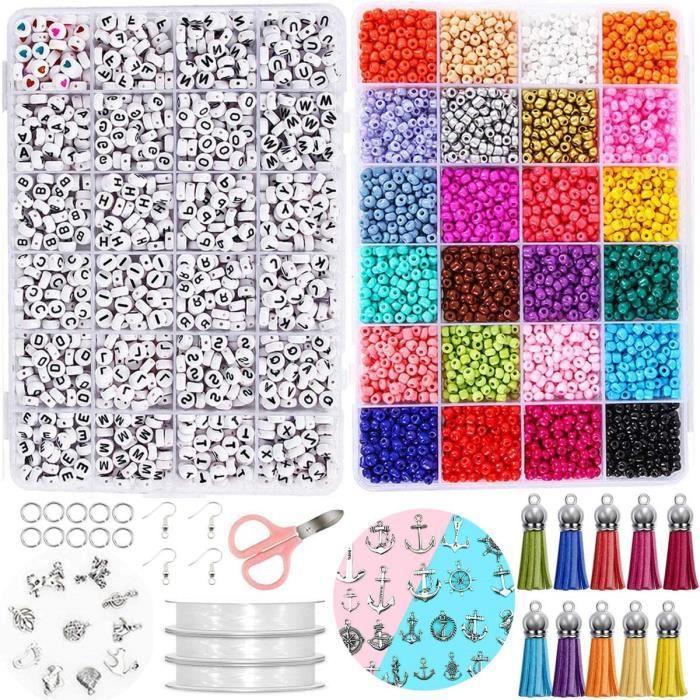 20 Couleurs 4mm Perles Poney Loisirs Créatifs avec Boîte de Rangement Perles Plastique Transparent pour Couture Bracelets Colliers C