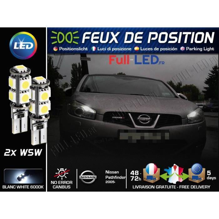 Ampoules Feux de position LED - Nissan Pathfinder 3- W5W blanc Xénon