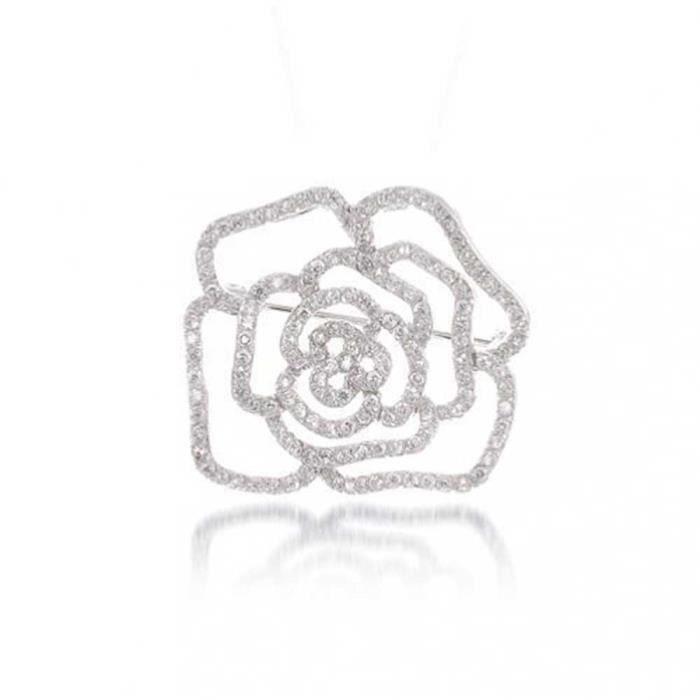Bling Jewelry Broche en Rose Plaquée Rhodium Sertie de Zircones