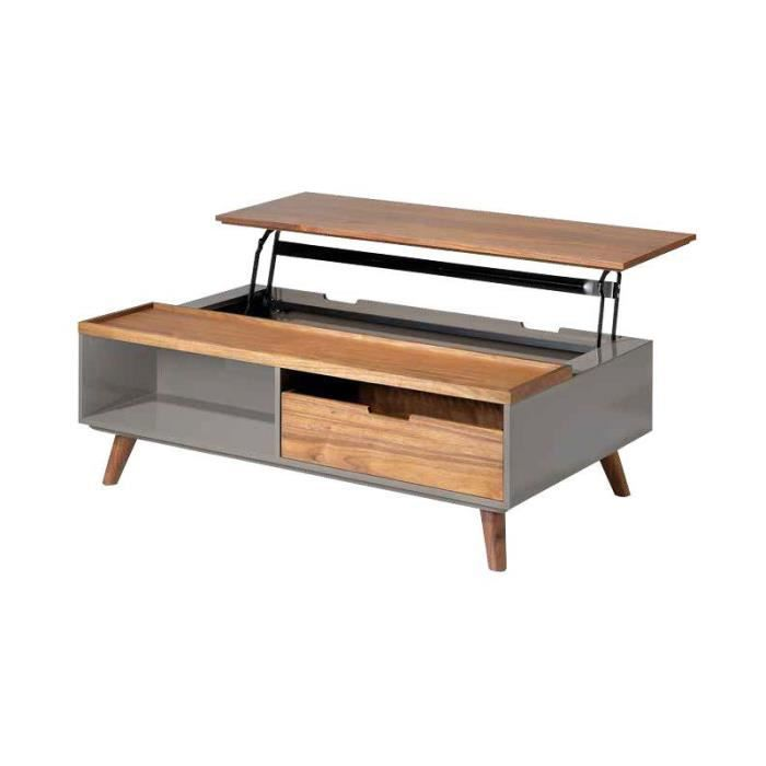 Table basse relevable couleur noyer et laqué taupe MINOS