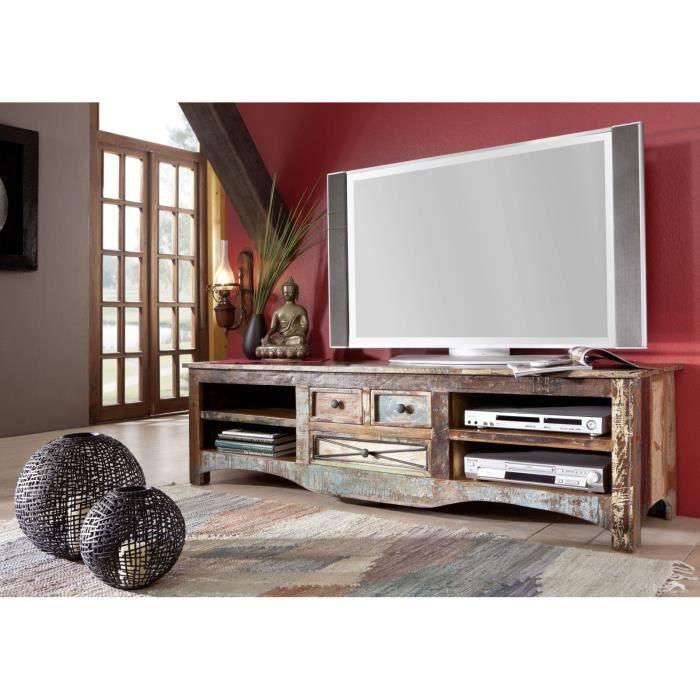 Meuble TV - Bois massif recyclé multicolore laqué - Inspiration Ethnique - NATURE OF SPIRIT #18