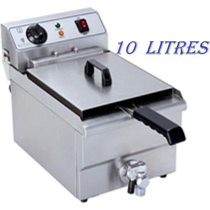 Friteuse électrique avec robinet de vidange Royal Catering 10L 1x3.200W 230V Utilisation et nettoyage simples Inox RCEF 10E