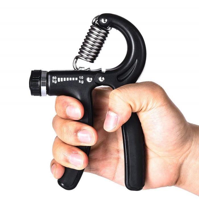 Poignée d'exercices de musculation Gripper ou Hand grip pour le renforcement de la main et de l'avant-bras(10-50kg)Noir